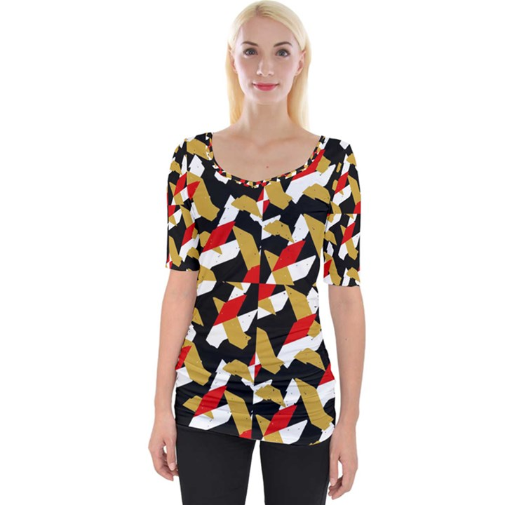 Colorful Abstract Pattern Wide Neckline Tee
