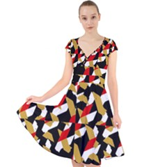Colorful Abstract Pattern Cap Sleeve Front Wrap Midi Dress