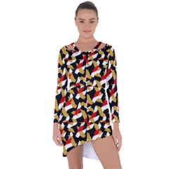 Colorful Abstract Pattern Asymmetric Cut Out Shift Dress