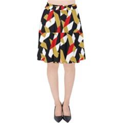 Colorful Abstract Pattern Velvet High Waist Skirt