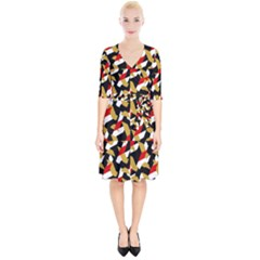 Colorful Abstract Pattern Wrap Up Cocktail Dress