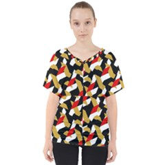 Colorful Abstract Pattern V Neck Dolman Drape Top