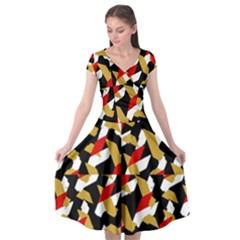 Colorful Abstract Pattern Cap Sleeve Wrap Front Dress
