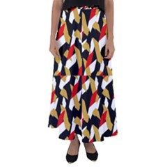 Colorful Abstract Pattern Flared Maxi Skirt