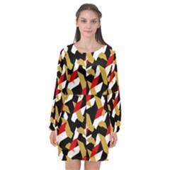 Colorful Abstract Pattern Long Sleeve Chiffon Shift Dress