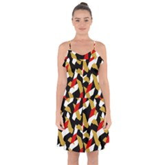 Colorful Abstract Pattern Ruffle Detail Chiffon Dress