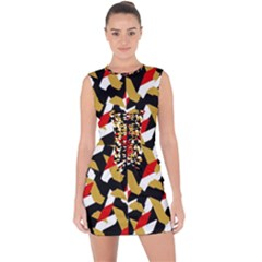 Colorful Abstract Pattern Lace Up Front Bodycon Dress