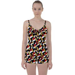 Colorful Abstract Pattern Tie Front Two Piece Tankini