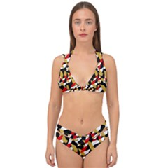 Colorful Abstract Pattern Double Strap Halter Bikini Set