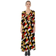 Colorful Abstract Pattern Button Up Boho Maxi Dress