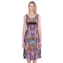 The Most Beautiful Planet Is Earth On The Sky Midi Sleeveless Dress