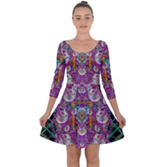 The Most Beautiful Planet Is Earth On The Sky Quarter Sleeve Skater Dress