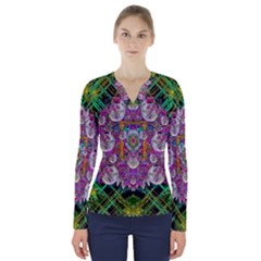 The Most Beautiful Planet Is Earth On The Sky V Neck Long Sleeve Top