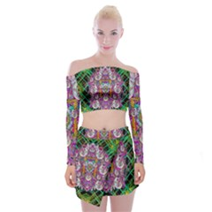 The Most Beautiful Planet Is Earth On The Sky Off Shoulder Top With Mini Skirt Set