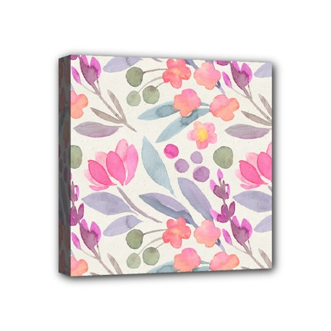 Purple And Pink Cute Floral Pattern Mini Canvas 4  X 4