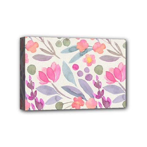 Purple And Pink Cute Floral Pattern Mini Canvas 6  X 4