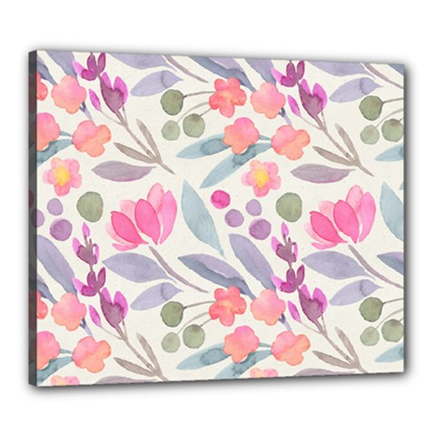 Purple And Pink Cute Floral Pattern Canvas 24  X 20
