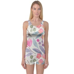 Purple And Pink Cute Floral Pattern One Piece Boyleg Swimsuit