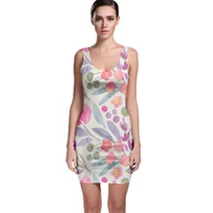 Purple And Pink Cute Floral Pattern Bodycon Dress