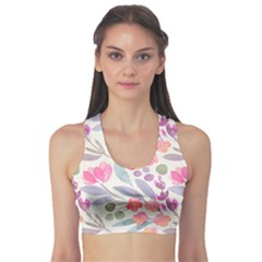 Purple And Pink Cute Floral Pattern Sports Bra