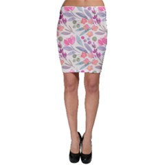 Purple And Pink Cute Floral Pattern Bodycon Skirt