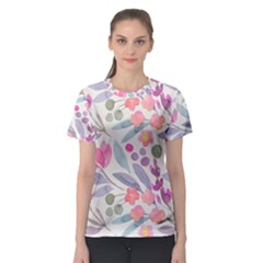 Purple And Pink Cute Floral Pattern Women s Sport Mesh Tee
