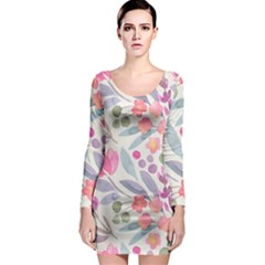 Purple And Pink Cute Floral Pattern Long Sleeve Bodycon Dress