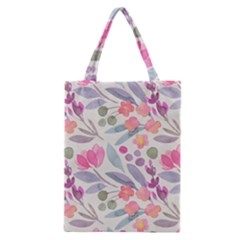 Purple And Pink Cute Floral Pattern Classic Tote Bag