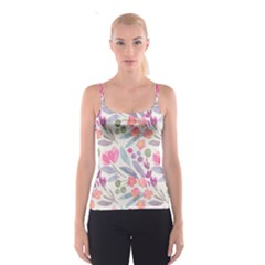 Purple And Pink Cute Floral Pattern Spaghetti Strap Top