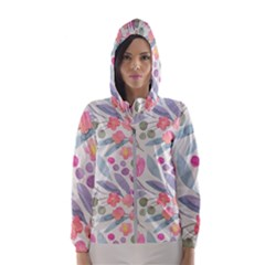 Purple And Pink Cute Floral Pattern Hooded Wind Breaker (women)
