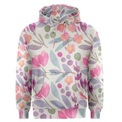 Purple And Pink Cute Floral Pattern Men s Pullover Hoodie