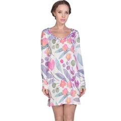 Purple And Pink Cute Floral Pattern Long Sleeve Nightdress