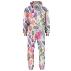 Purple And Pink Cute Floral Pattern Hooded Jumpsuit (men)