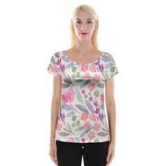 Purple And Pink Cute Floral Pattern Cap Sleeve Tops