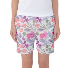Purple And Pink Cute Floral Pattern Women s Basketball Shorts