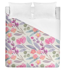 Purple And Pink Cute Floral Pattern Duvet Cover (queen Size)