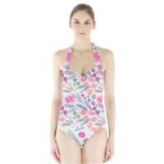 Purple And Pink Cute Floral Pattern Halter Swimsuit
