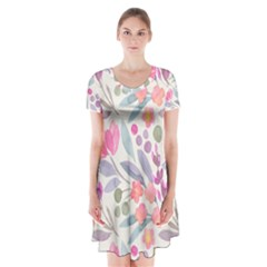 Purple And Pink Cute Floral Pattern Short Sleeve V Neck Flare Dress