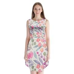 Purple And Pink Cute Floral Pattern Sleeveless Chiffon Dress