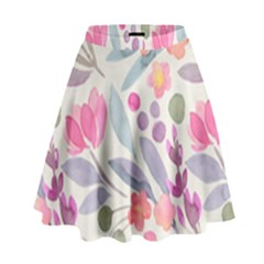 Purple And Pink Cute Floral Pattern High Waist Skirt