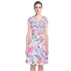 Purple And Pink Cute Floral Pattern Short Sleeve Front Wrap Dress