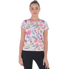 Purple And Pink Cute Floral Pattern Short Sleeve Sports Top