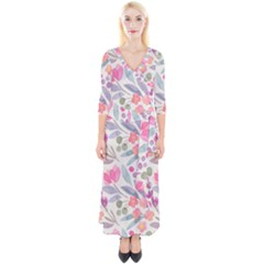 Purple And Pink Cute Floral Pattern Quarter Sleeve Wrap Maxi Dress