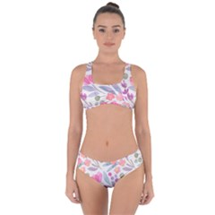 Purple And Pink Cute Floral Pattern Criss Cross Bikini Set