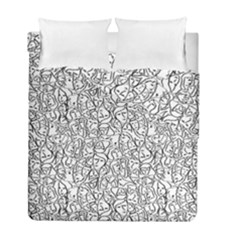 Elio s Shirt Faces In Black Outlines On White Duvet Cover Double Side (full/ Double Size)