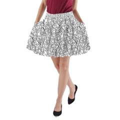 Elio s Shirt Faces In Black Outlines On White A Line Pocket Skirt