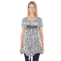Elio s Shirt Faces In Black Outlines On White Short Sleeve Tunic