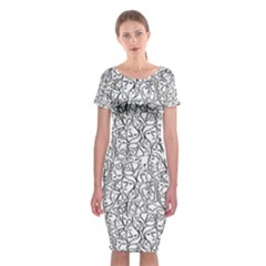 Elio s Shirt Faces In Black Outlines On White Classic Short Sleeve Midi Dress