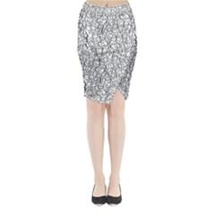 Elio s Shirt Faces In Black Outlines On White Midi Wrap Pencil Skirt
