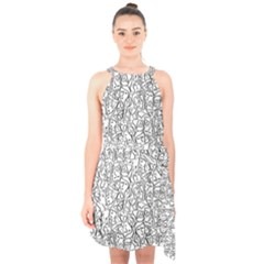 Elio s Shirt Faces In Black Outlines On White Halter Collar Waist Tie Chiffon Dress